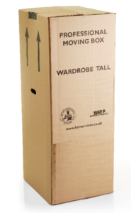 Wardrobe box for hanging suits and dresses in storage and removals